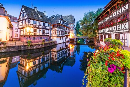 Strasbourg, Alsace, France. Traditional half timbered houses of Petite France.