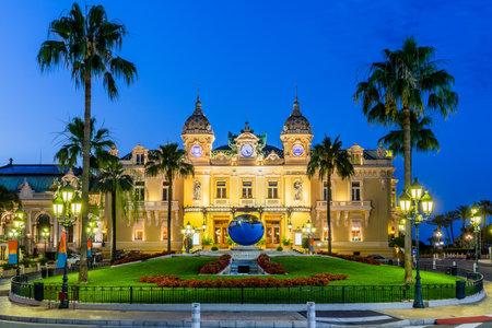 Monte Carlo, Monaco. Front of the Grand Casino at dusk. 報道画像