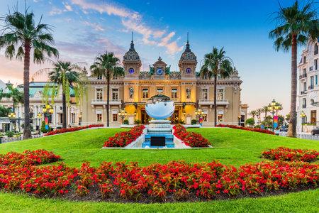 Monte Carlo, Monaco. Front of the Grand Casino at sunrise.
