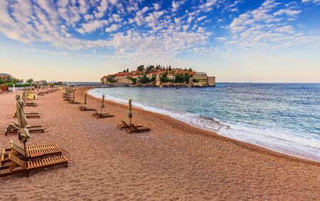 Sveti Stefan, Montenegro. Old historical town and resort on the island. 報道画像