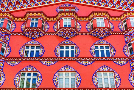 Ljubljana, Slovenia -  August 17, 2019: Detail of Vurnik house or the Cooperative Business Bank building. 報道画像