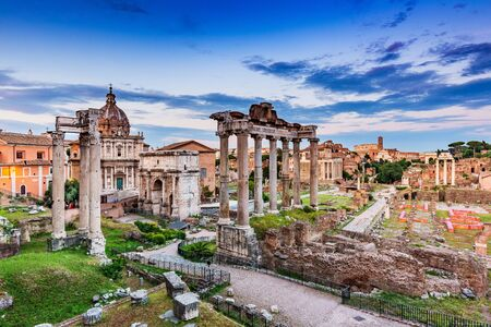 Rome, Italy. Ancient Roman Forum at sunset. Foto de archivo