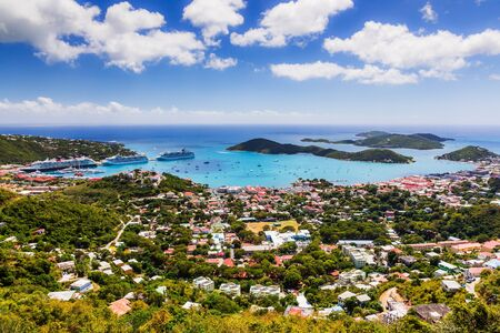 St. Thomas, USVI. Panoramic view of the Charlotte Amelie town.
