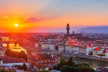 Florence, Italy. View of Florence at sunset from Piazzale Michelangelo. 写真素材