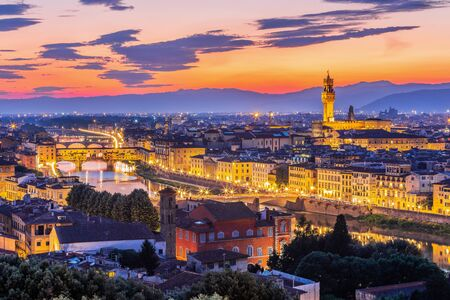 Florence, Italy. The Cathedral and the Brunelleschi Dome at sunset.