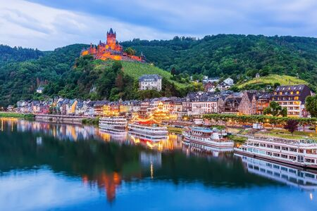 Cochem, Germany. Old town and the Cochem (Reichsburg) castle on the Moselle river.