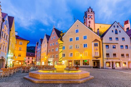 Fussen, Germany. Old townscape at twilight.