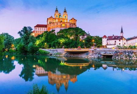 Melk, Austria. Benedictine abbey in Wachau valley at twilight.