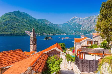 Perast, Montenegro. View of the historic town of Perast at the Bay of Kotor.