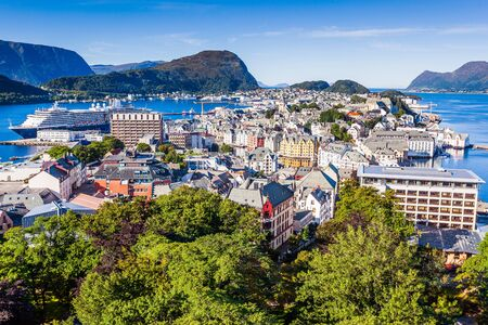 Alesund, Norway. View of the Art Nouveau town from above. 写真素材