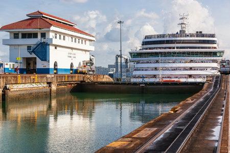 panama Canal, Panama - April 20, 2011: Ship enters locks at Gatun.