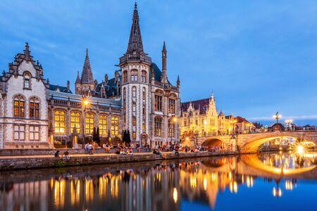 Belgium, Ghent. Korenlei and Graslei, historical houses at River Lys.