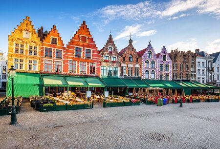 Bruges, Belgium. Grote Markt square at sunrise.