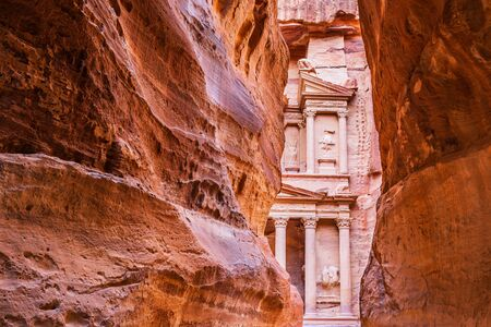 Petra, Jordan. Al-Khazneh (The Treasury) in Petra seen from the siq.