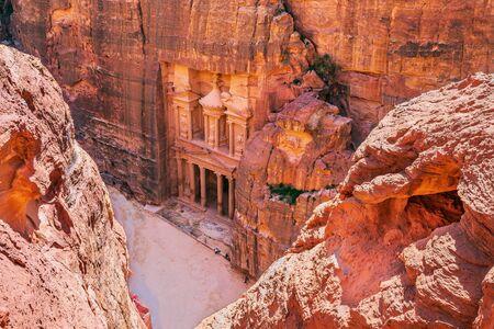 Petra, Jordan. Al-Khazneh (The Treasury) in Petra seen from above.