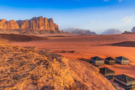 Wadi Rum Desert, Jordan. The red desert and bedouin camp.
