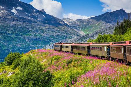 Skagway, Alaska. The scenic White Pass & Yukon Route Railroad. 報道画像