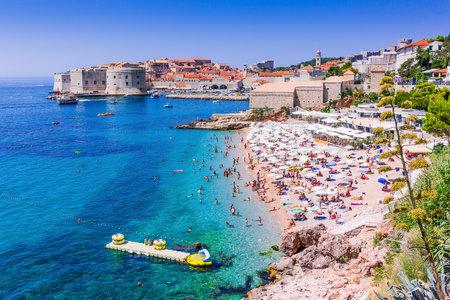Dubrovnik, Croatia. Public beach and Old Town Dubrovnik.