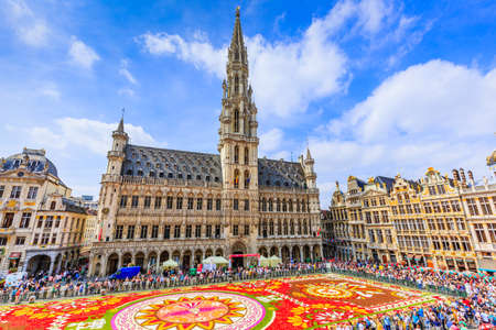 Brussels, Belgium. Grand Place during Flower Carpet festival. This year theme was Mexico.