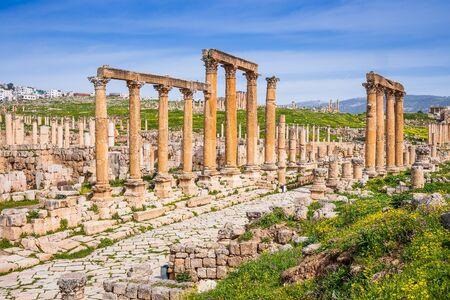 Jerash, Jordan. Colonnaded Street inside the ancient city.