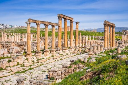 Jerash, Jordan. Colonnaded Street inside the ancient city. 写真素材