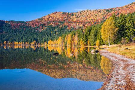 Harghita County, Romania. Autumn landscape at Saint Anne(Sf Ana) lake. Banque d'images
