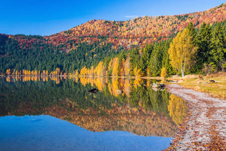 Harghita County, Romania. Autumn landscape at Saint Anne(Sf Ana) lake.