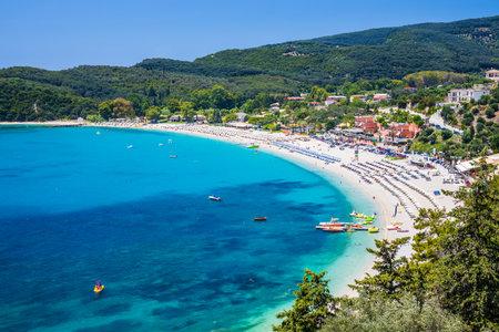 Parga, Greece. Aerial view of the Valtos beach.
