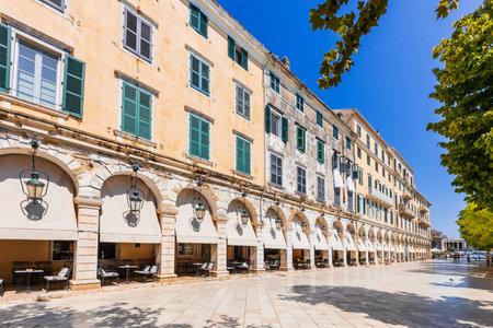 Corfu, Greece. Liston - Spianada Square the historic center of Corfu town.