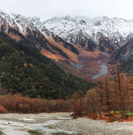 The fall season of kamikochi national park, Japan