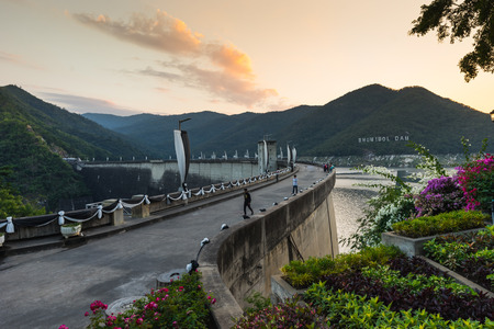 TAK, THAILAND - DECEMBER 23, 2016 : The Bhumibol Dam on November 5, 2016. The Bhumibol Dam is a concrete arch dam on the Ping River, a tributary of the Chao Phraya River, in Tak Province, Thailand.