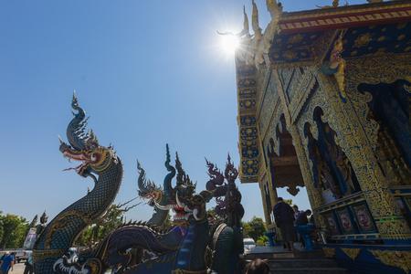 Chiangrai famous place Wat Rong Sua Ten blue temple unseen place in chiangrai,thailand