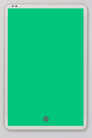 White tablet computer  green screen, electronic device isolated on white background.