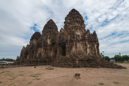 The remains of the Phra Prang Sam Yot Ancient Ruins in the city of Lop Buri, Thailand.
