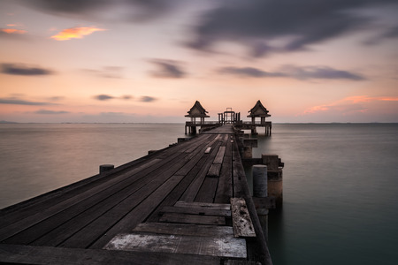 Wooden bridge on the beach.,Summer, Travel, Vacation and Holiday concept in Thailand Standard-Bild - 123068412