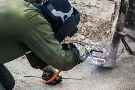 Welding steel work Stock Photo