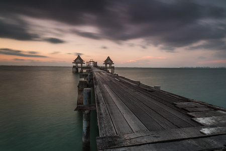 Wooden bridge on the beach.,Summer, Travel, Vacation and Holiday concept in Thailand Standard-Bild - 123068468