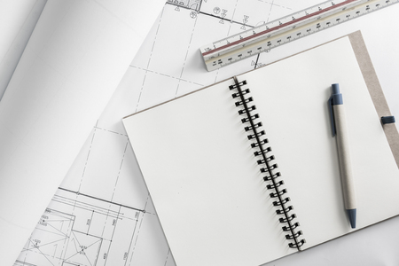 Construction design work of engineer concept