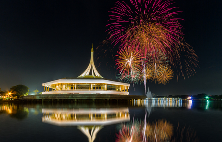 Monument in public park of thailand and fireworks background in public park, Night light shooting reflection on water concept at the Suanluang Rama 9, Thailand