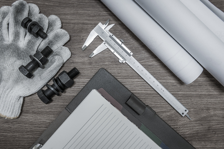 Bolts and nuts for high tension work with vernier caliper or equipment of engineer analyze for design or engineer inspector for checking and design