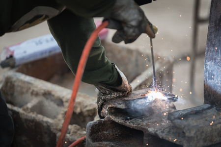 Welding steel work Reklamní fotografie