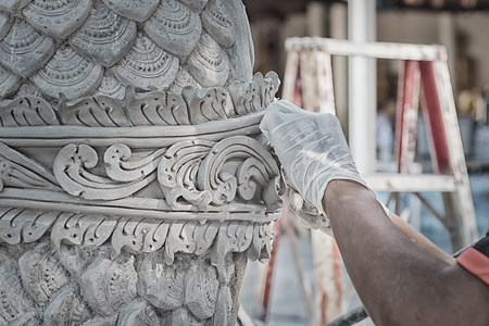 Close up to Stucco for Hand works of Artist in workshop of Thailand. Working about the Stucco Sculpture in Thailand is the one of Asia.