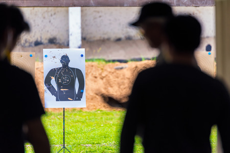 Sight, Targets shoot the gun of people man with bullet holes. Sports practice training.