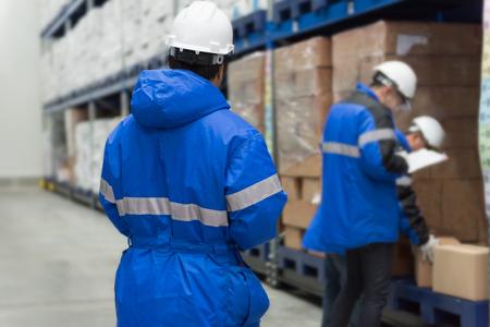Warenkontrolle im Gefrierraum oder Lager. Lagerung für Fertiggerichte oder verzehrfertige Lebensmittel. Systemkonzept der Export-Import-Logistik. Standard-Bild