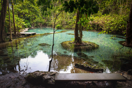 Water Clear Pool from Naturally spring. Tourism Activity at Ban Nam Rad Watershed Forest in Surat Thani Khiri Rat Nikhom district. Popular attraction recent Thailand.