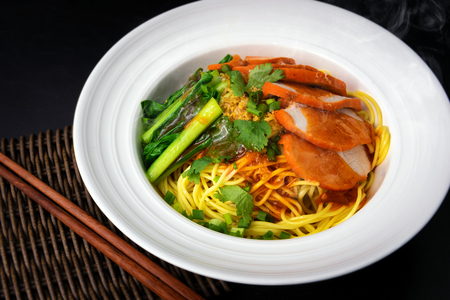 Noodle with steamed dumplings Chinese and Pork  Based Soup, Ready-made food 免版税图像