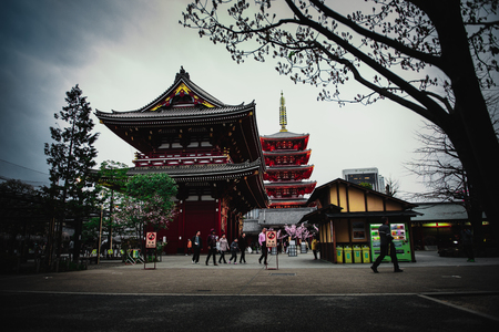 TOKYO,JAPAN - MAR 2015 : Asakusa Kannon Temple or Sensoji Temple is a Buddhist temple located in Asakusa. One of Tokyo's most colorful and popular temples.Cinematic filter.