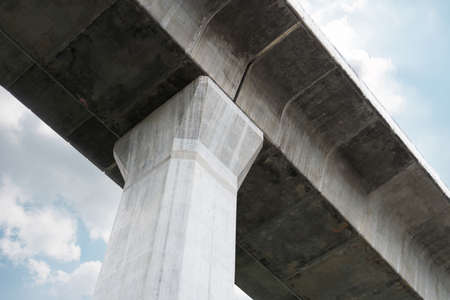 Prefabricated concrete of bridge - Built the structure of column support the railroad. Technology of construction.