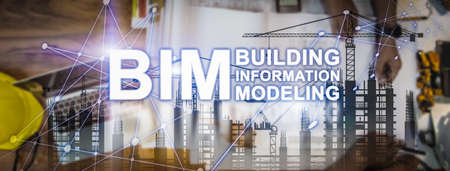 BIM Technology Banner. Double Exposure of Designer meeting and Discussion about project startup, Building Information Modeling Technology in Construction Management Concept.