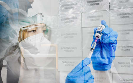 Delivering coronavirus Covid-19 vaccine concept. Double exposure image of transportation of vaccine and female doctor hands and holds injection syringe vaccine for population.